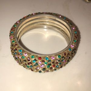 Stack of four multi color bangles from Nordstrom